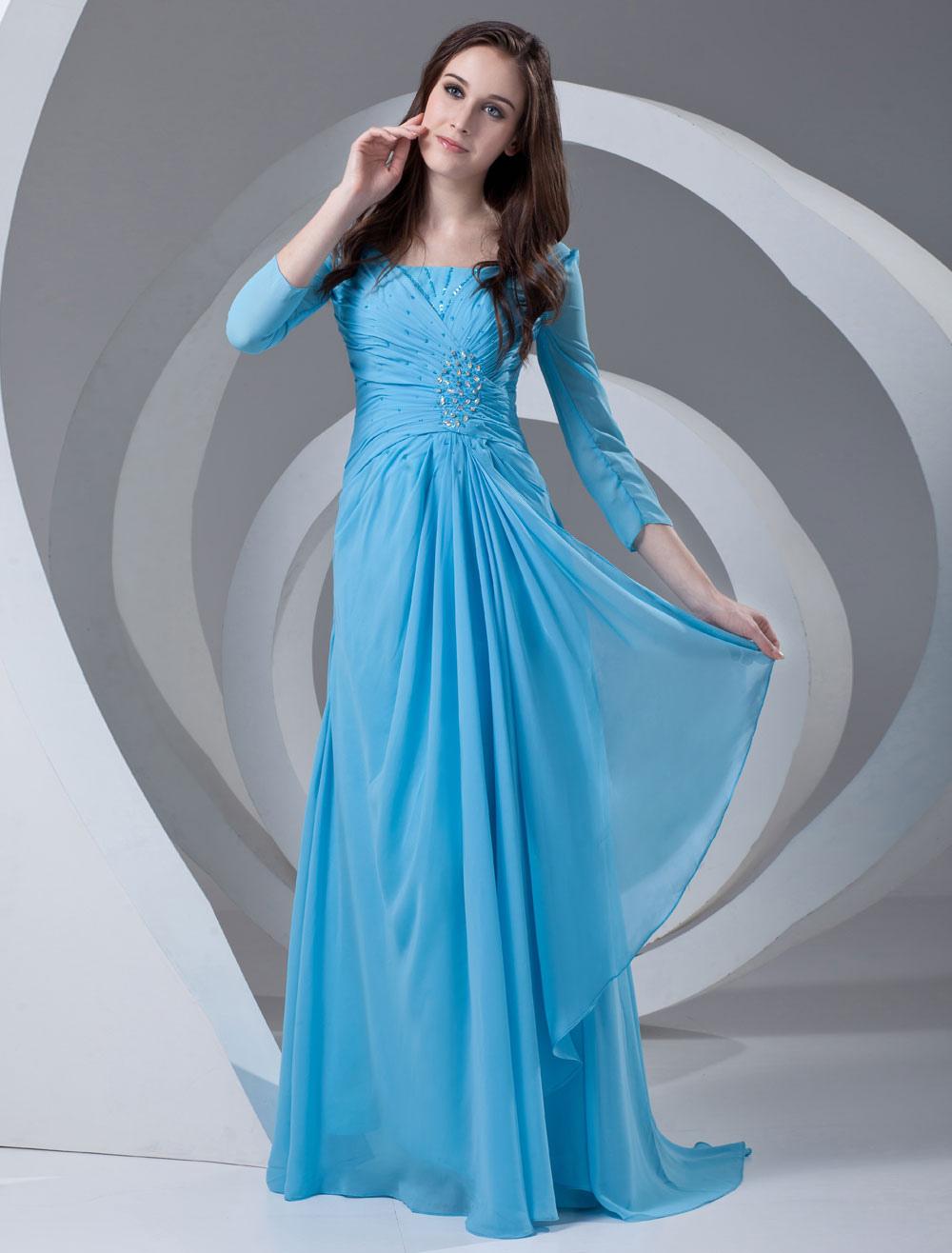 Платья вечерние в пол с рукавом три четверти