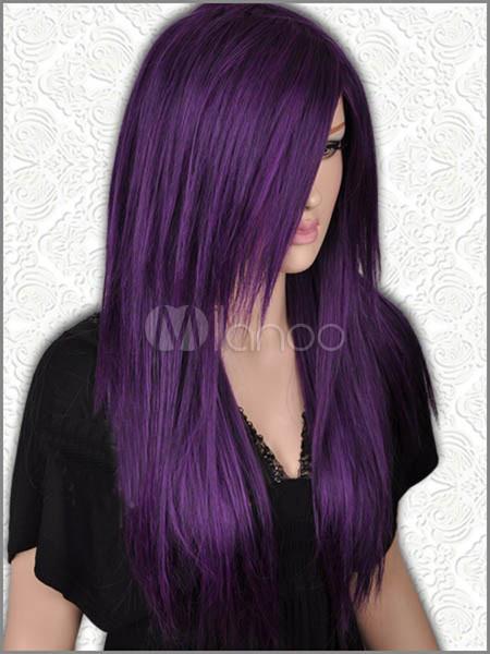 Цвет волос черный с фиолетовым