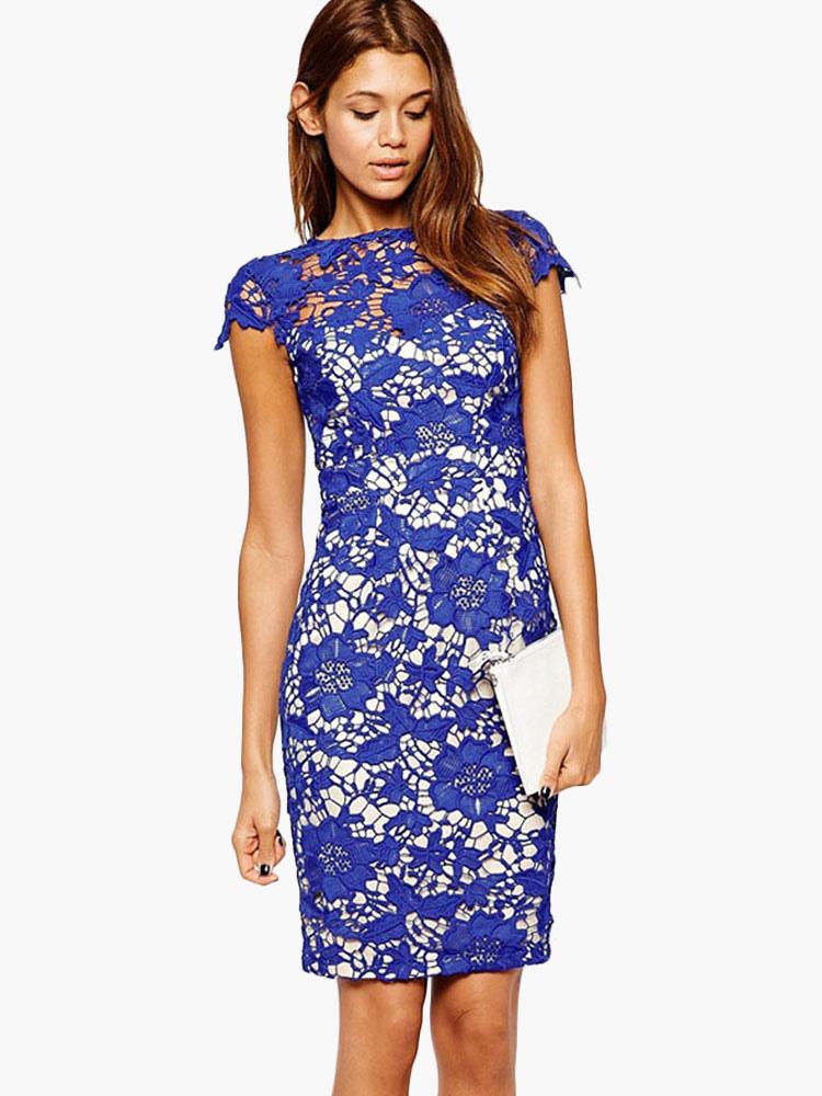 Белое платье с синим кружевом 53