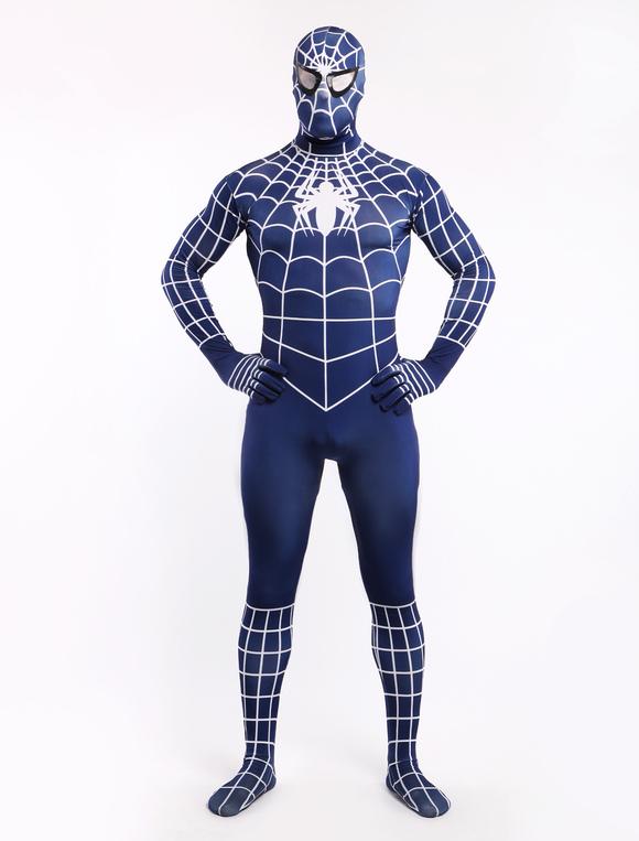 ... Azul marino Spiderman Zentai Halloween Lycra Spandex Superhero Disfraz  ... 7e55811d708e