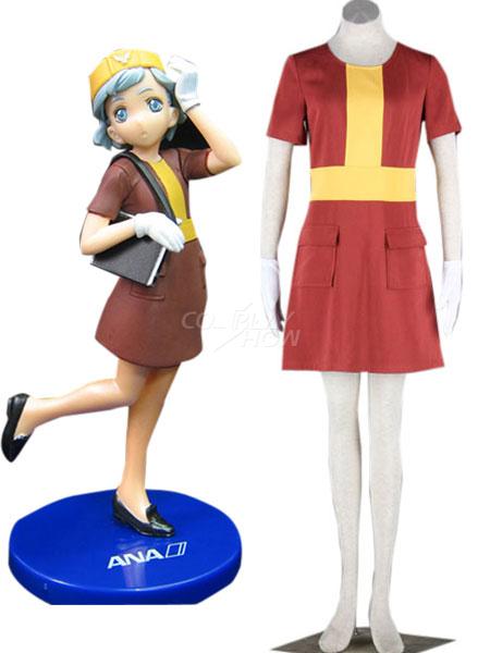 e94f168e3c2 Airhostess Uniform Red Pocket 65% Cotton 35% Polyester Cosplay Costume