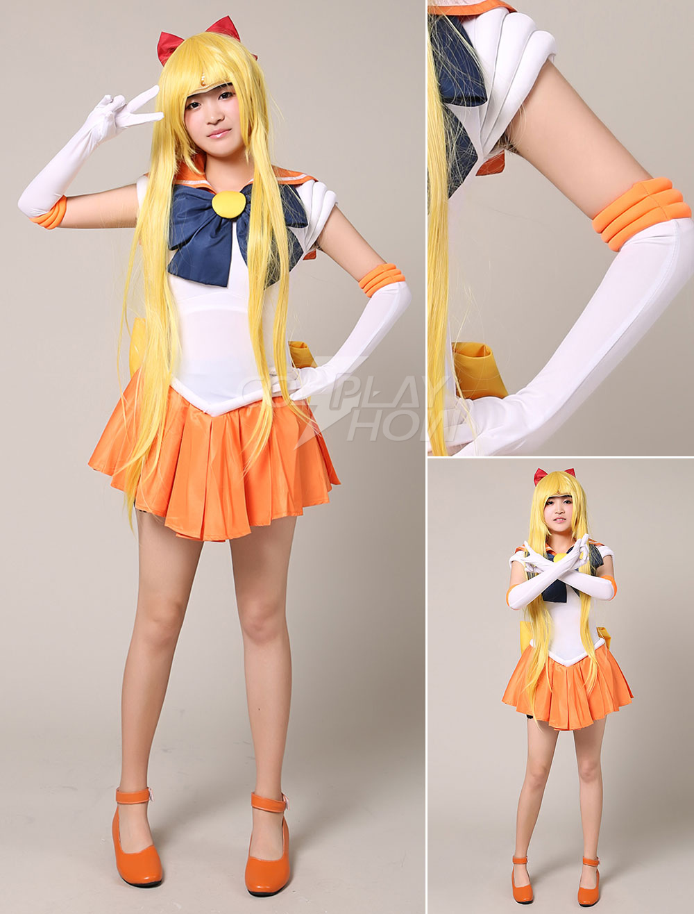 sailor moon sailor venus halloween cosplay costume aino minako cosplay wig halloween