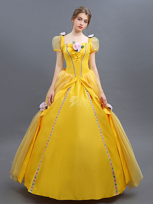 Beauty And The Beast Costume 2019 Belle Cosplay Ball Gown Yellow