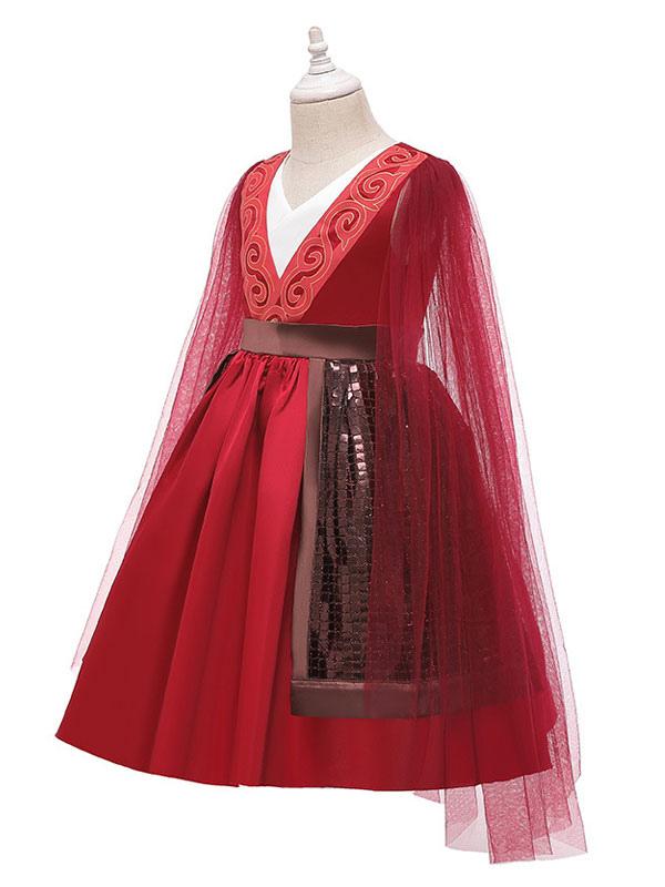 Mulan 2020 Girls Hua Mulan Cosplay Costume Red Dress For Kids Halloween Cosplayshow Com
