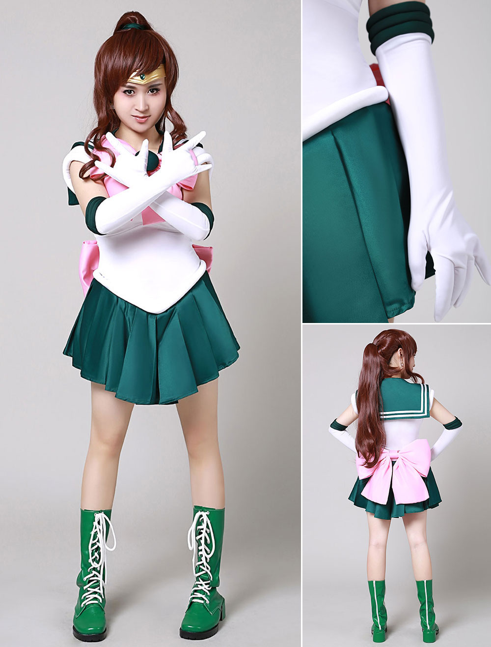 Sailor Moon SuperS Cosplay Costume Sailor Jupiter Kino Makoto Pink Waist Bowknot