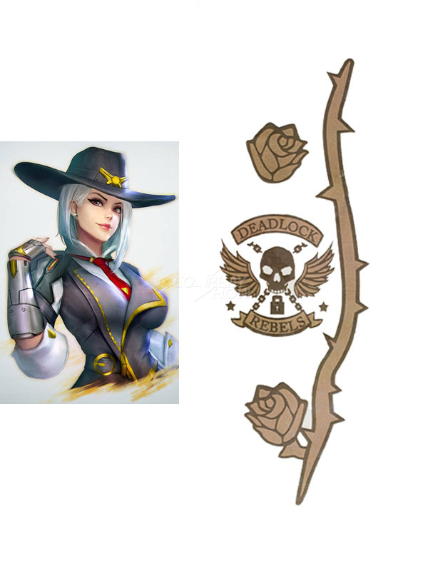 Overwatch Ow Ashe Halloween Cosplay Temporary Tatto