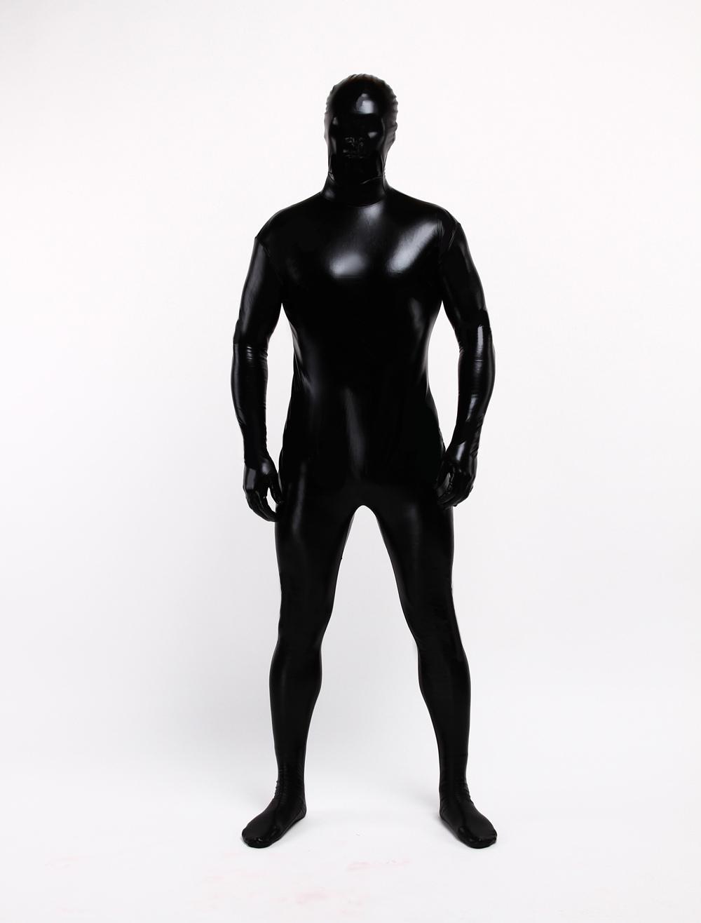 Traje negro brillante hombre