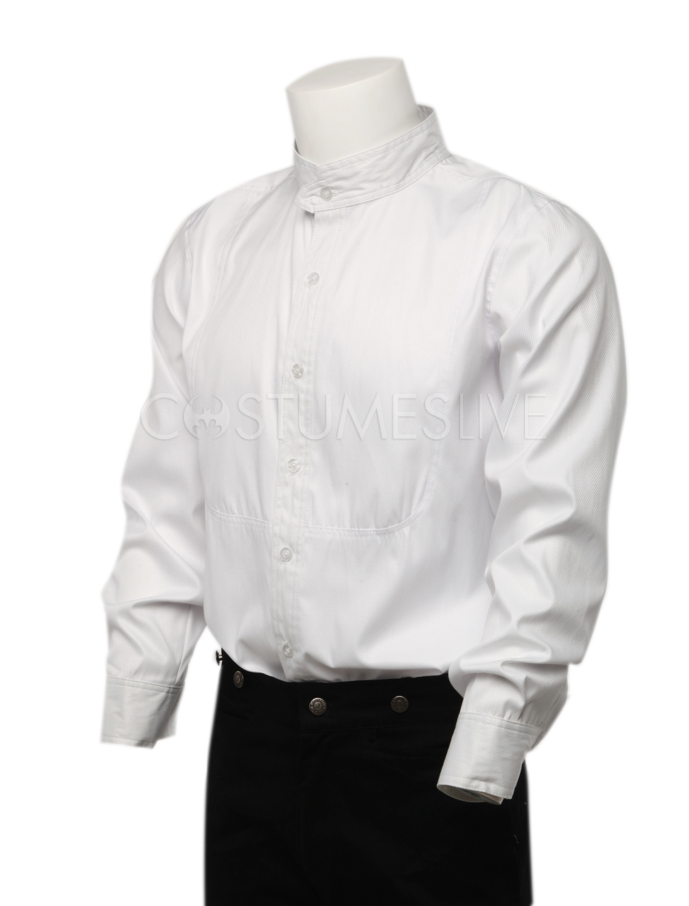 Steampunk White Shirts Mens Long Sleeve Button Up Standing Collar