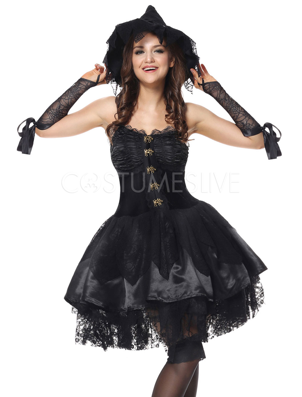 Halloween Witch Costume Black Lace Patchwork Short Dresses Outfit