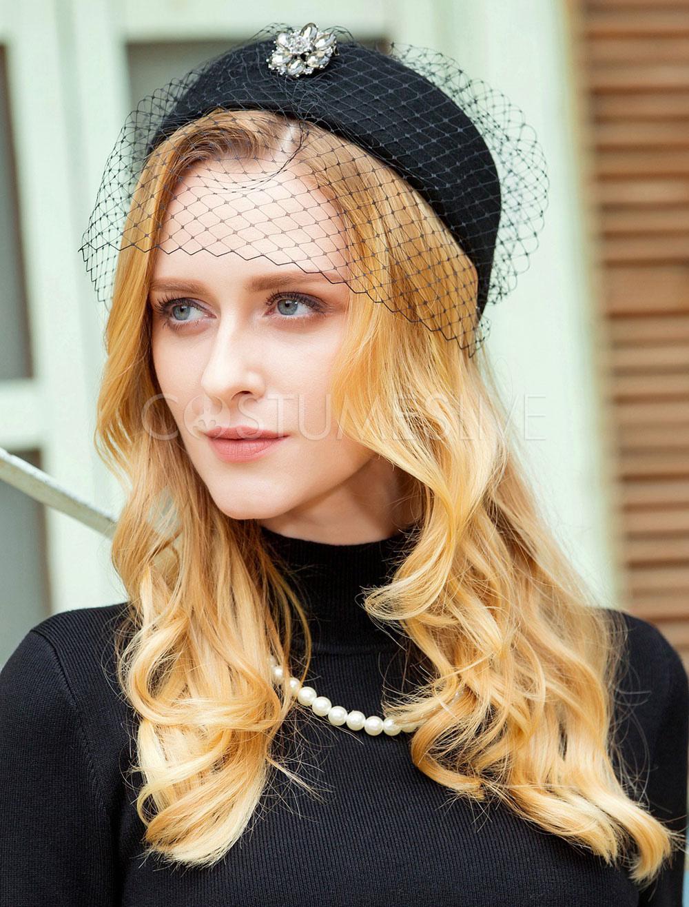 1e98f77ad Vintage Fascinator Hat Wool Black Winter Felt Hats For Women