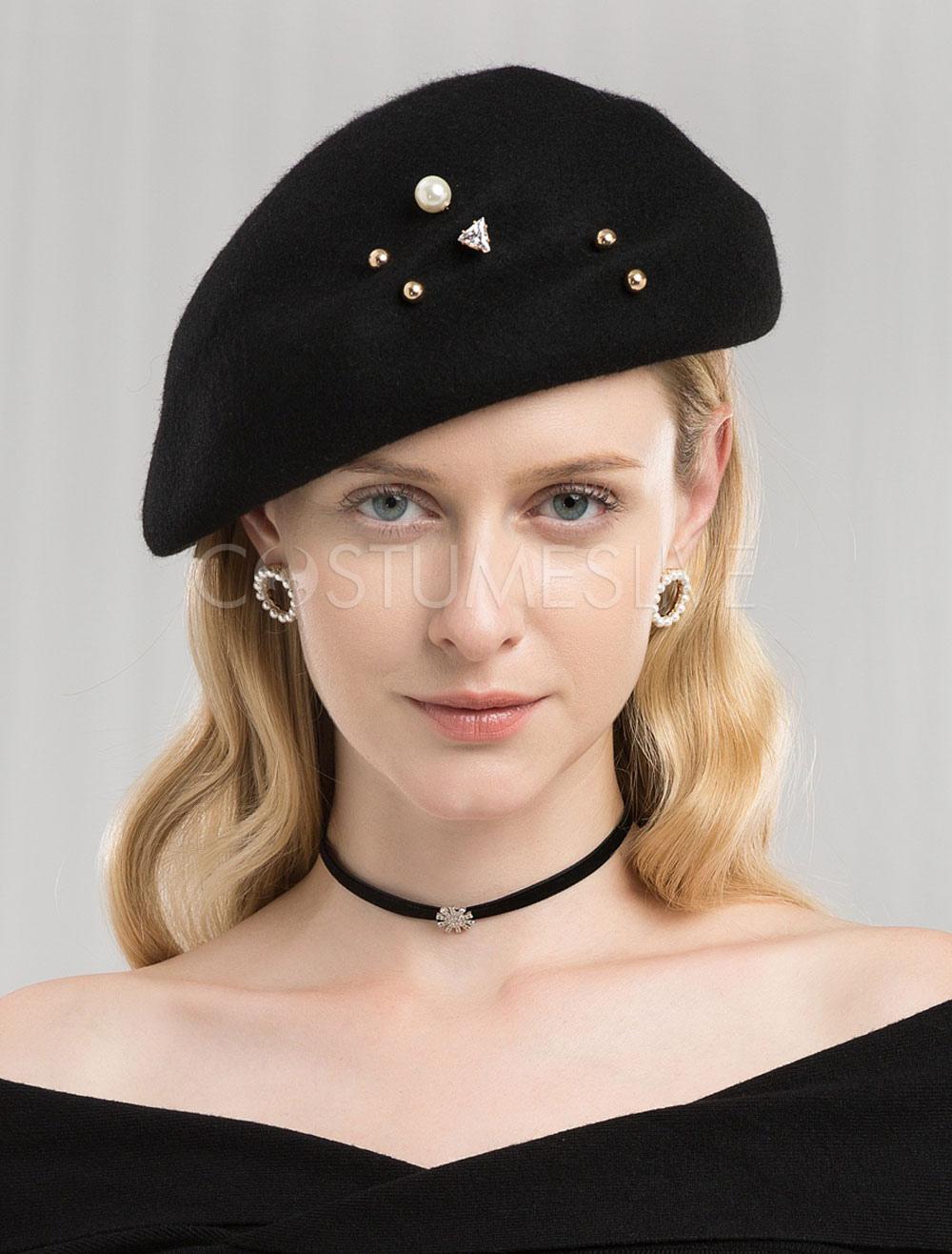 3a306697c061bf Black Wool Hat Retro Beret Felt Hat Women Royal Hair Accessories Winter  Vintage Headpieces - Costumeslive.com by Milanoo
