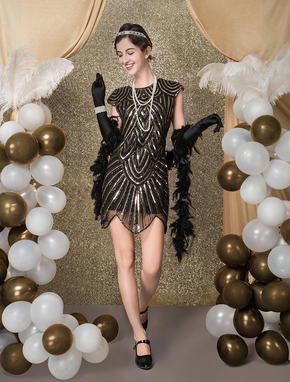 352c05c7a40 Robe Charleston 2019 Costume de Robe Flapper des années 1920 Costume  Vintage Femmes Zigzag pailleté noir robe moulante courte Halloween -  Costumeslive.com ...