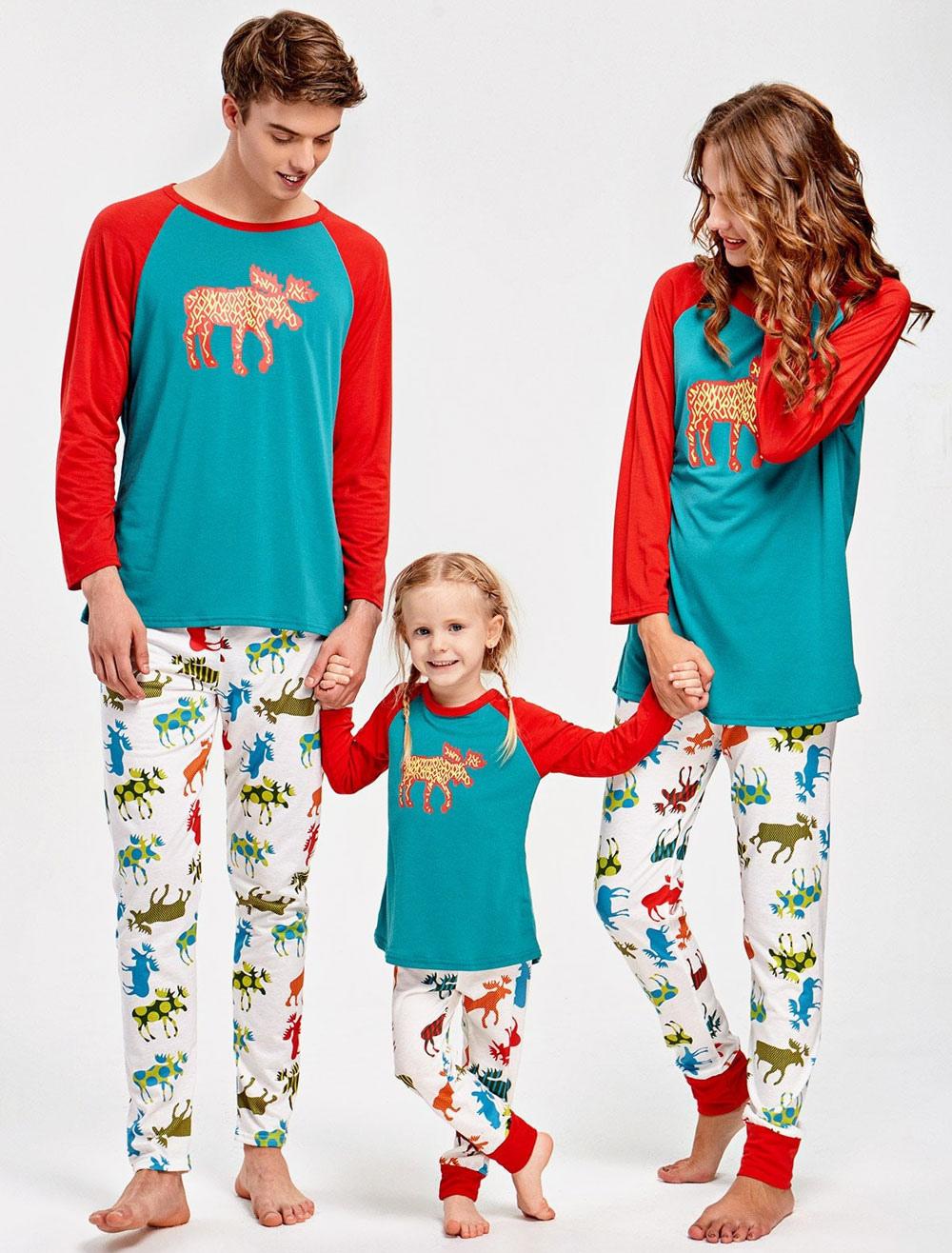Christmas Family Pajamas Set.Christmas Family Pajamas Mother Blue Printed Top And Pants 2 Piece Set For Women