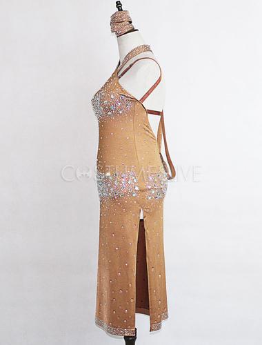 f51ba396961a ... Costumi da ballo latino americano interpretazione per adulti cachi monocolore  ballerino Latino abito lycra spandex ...