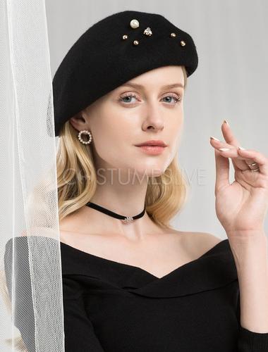 2035f3426077b3 ... Black Wool Hat Retro Beret Felt Hat Women Royal Hair Accessories Winter  Vintage Headpieces ...