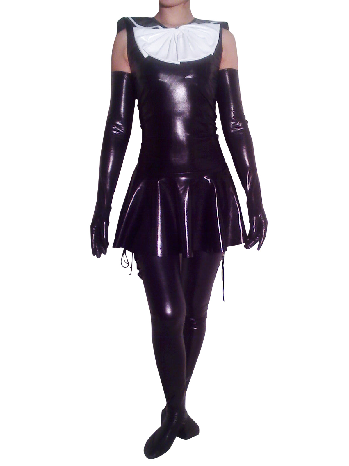 Halloween Maid Shiny Metallic Catsuit With Shoulder Length Gloves And Stockings