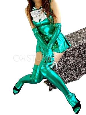 481bcbfd89a5 ... Halloween Green Shiny Metallic Bowknot Catwoman Mini Skirt Suit ...