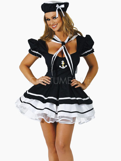 Black Halloween Acrylic Sailor Costume Sexy Gathered Bust Dress