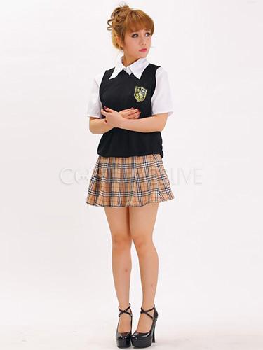 Etudiante Sexy Photo costume sexy d'étudiante en coton mélangé avec jupe écossaise