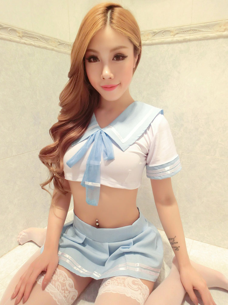 Halloween School Girl Costume Sexy Uniform Mini Skirt Outfit Set In 3 Piece -2195