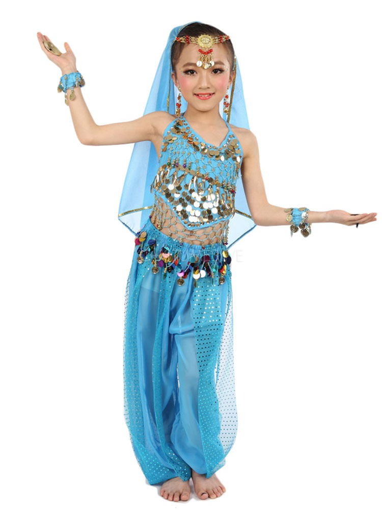 Belly Dance Costume Kids Blue Chiffon Sleeveless Indian Bollywood Dancing  Costumes