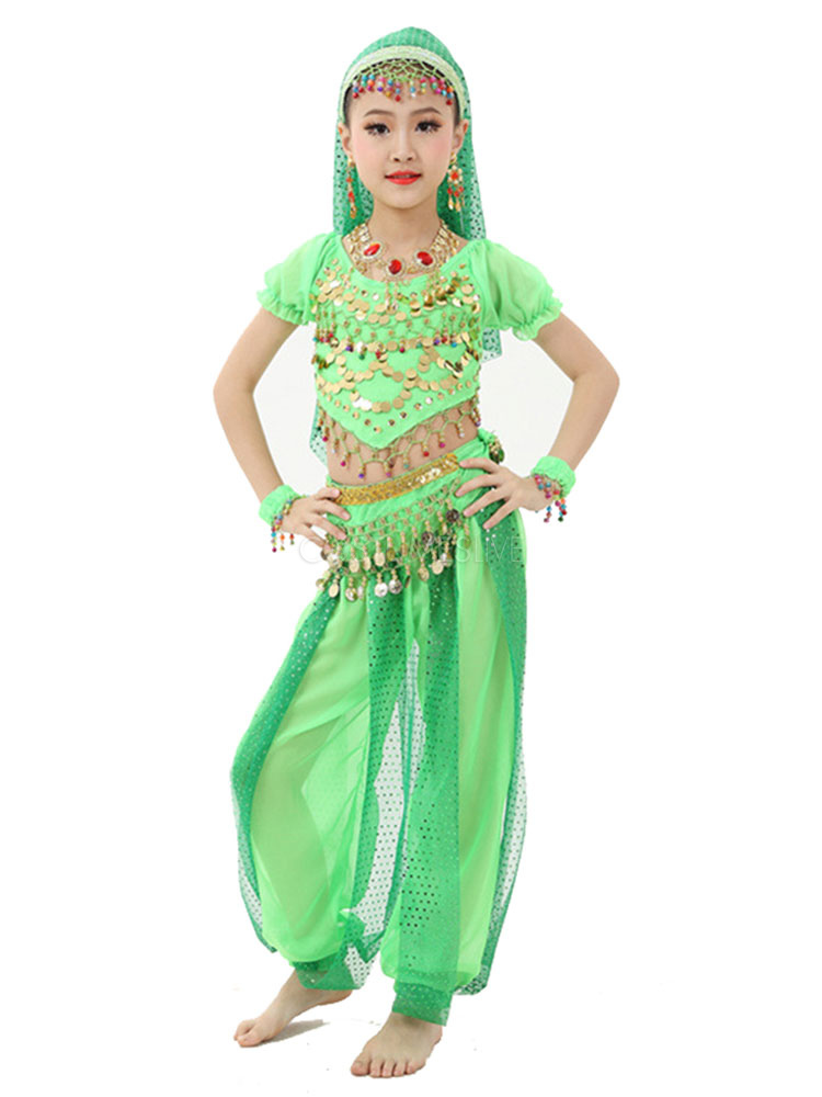 Belly Dance Costume Kids Light Green Chiffon Bollywood Indian Dancing  Costumes