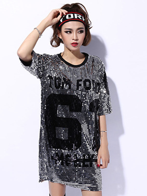 0298057a2b4e ... Hip Hop Dance Sequin Costume Sexy Red Glitter Women Letter Printed Dancing  Top ...