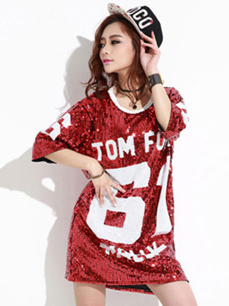 c0ec096d7e4f Hip Hop Dance Sequin Costume Sexy Red Glitter Women Letter Printed Dancing  Top - Costumeslive.com by Milanoo