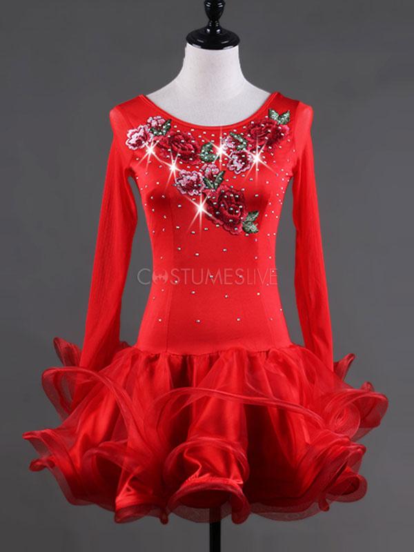1cf1f201d04b Costumi da ballo latino americano interpretazione per adulti rossi monocolore  ballerino Latino abito ...