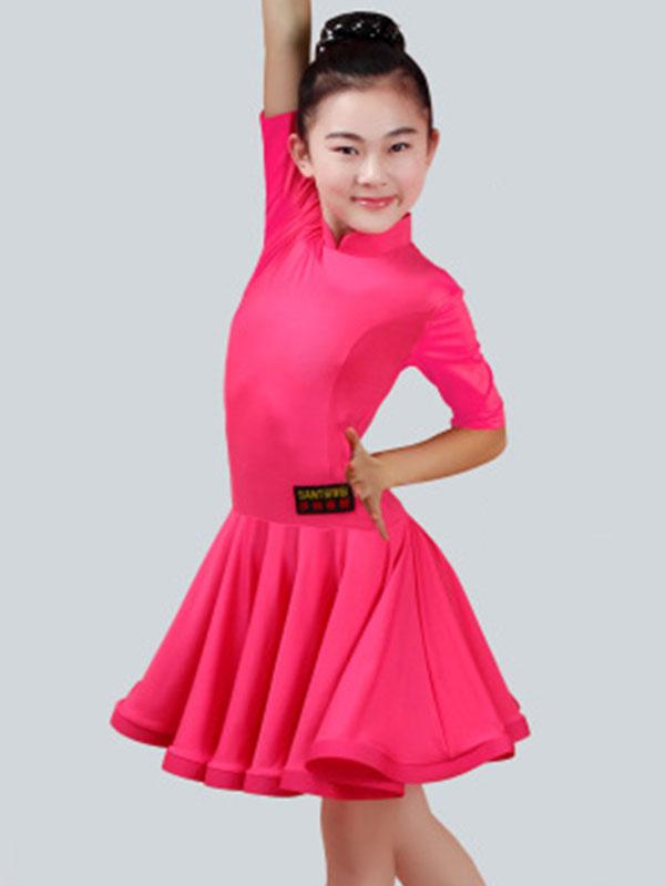 Latin Dance Costume Dresses Kids Half Sleeve Peachpuff Ballroom Dancing  Dress For Girls