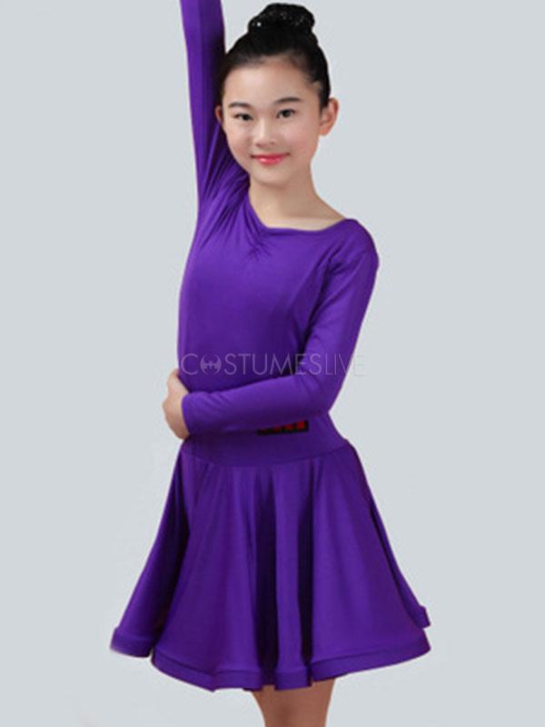 33672c69eac4 Latin Dance Costume Kids Dresses Plum Long Sleeve Ballroom Dancing Costumes  - Costumeslive.com by Milanoo