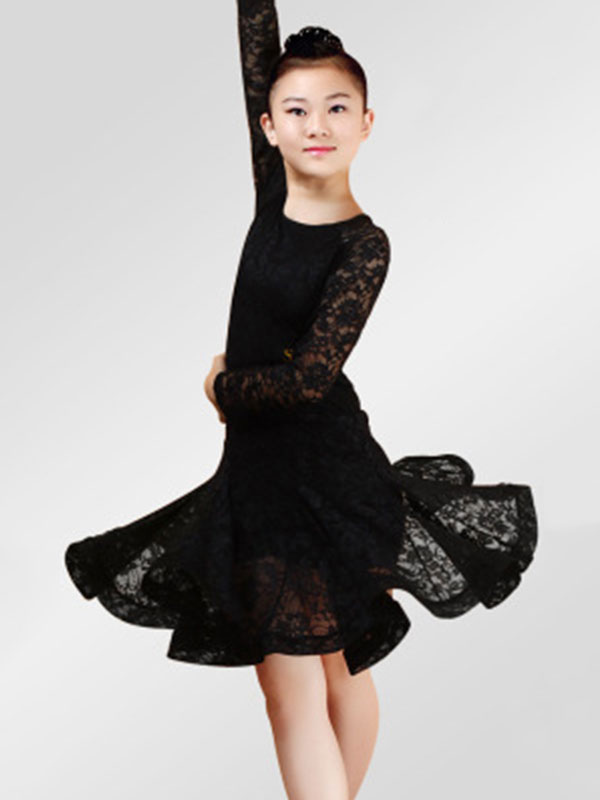 a1becbf948ad8 ... Latin Dance Dresses Costume Red Kids Lace Long Sleeve Ballroom Dance  Costumes For Girls