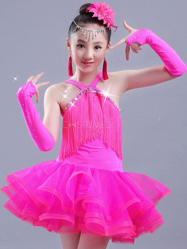 Latin Dance Costume Kids Roses Tassels Ruffle Organza Girls Latin Dancing  Dress