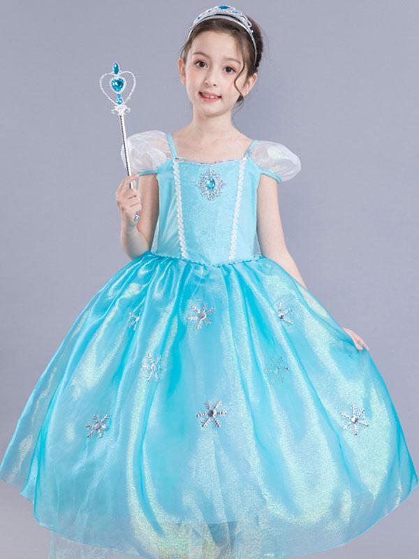 Disfraz De Elsa Halloween Para Niños Cosplay Vestidos De Niña Azul Congelado