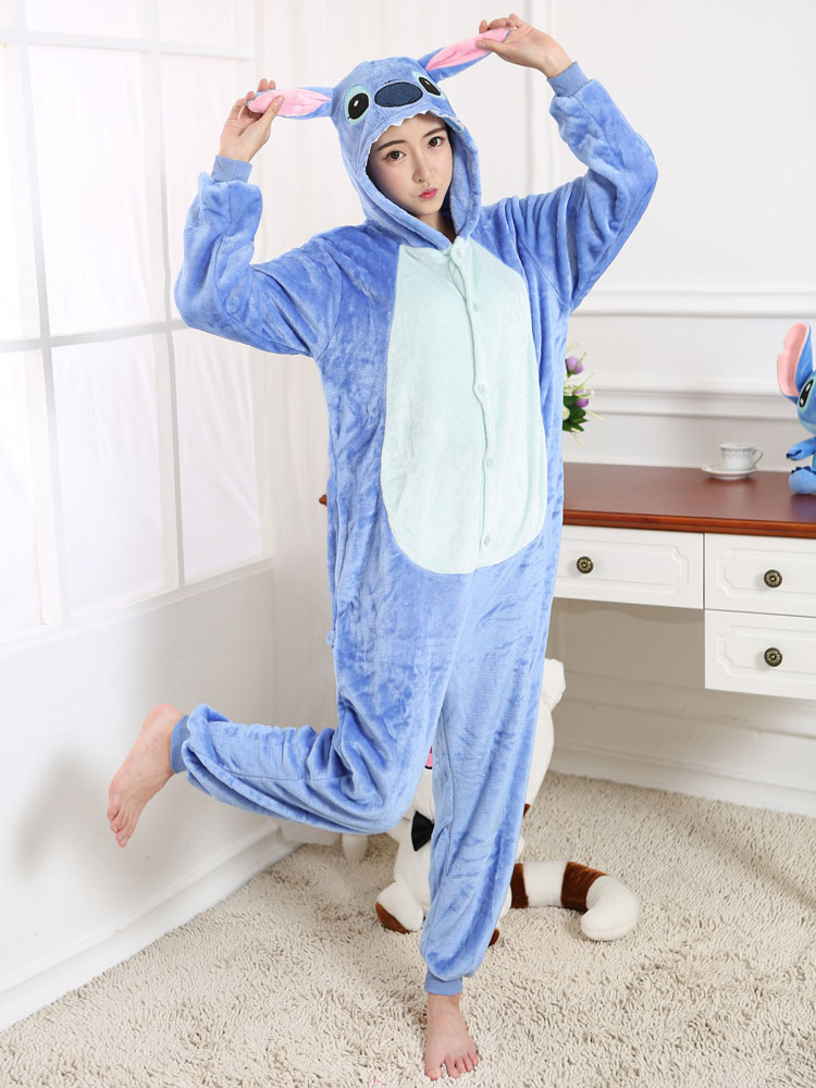 d299932c5d Kigurumi Pajama Stitch Onesie Blue Flannel Cartoon Sleepwear For Adult With  Zipper Back Halloween - Costumeslive.com by Milanoo