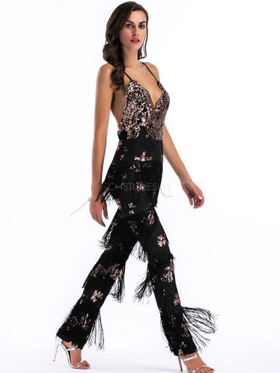 women flapper jumpsuit black metallic sequined fringe