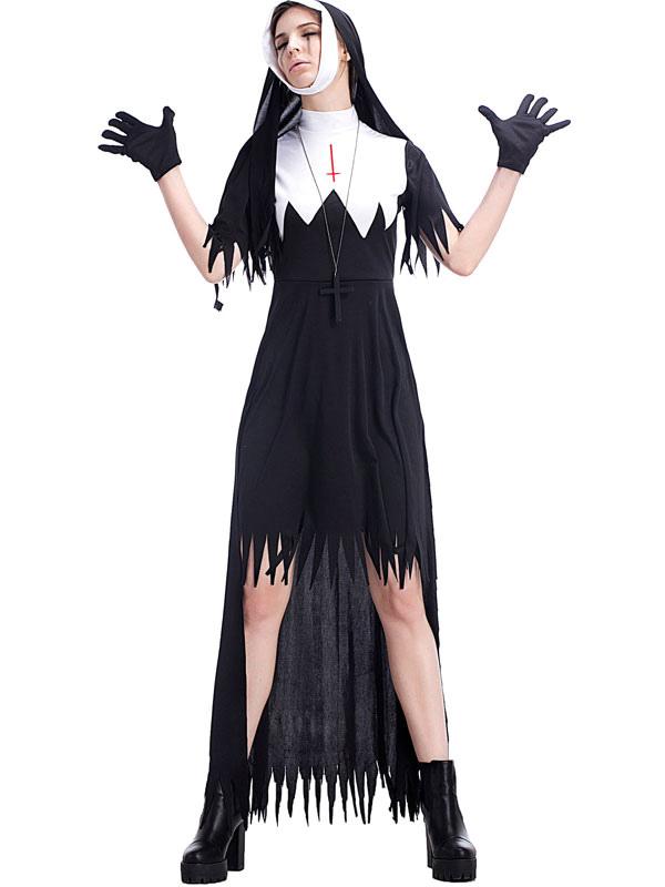 Disfraces De Halloween Mujer Monja Logo Collar Vestido Negro Disfraces De Halloween