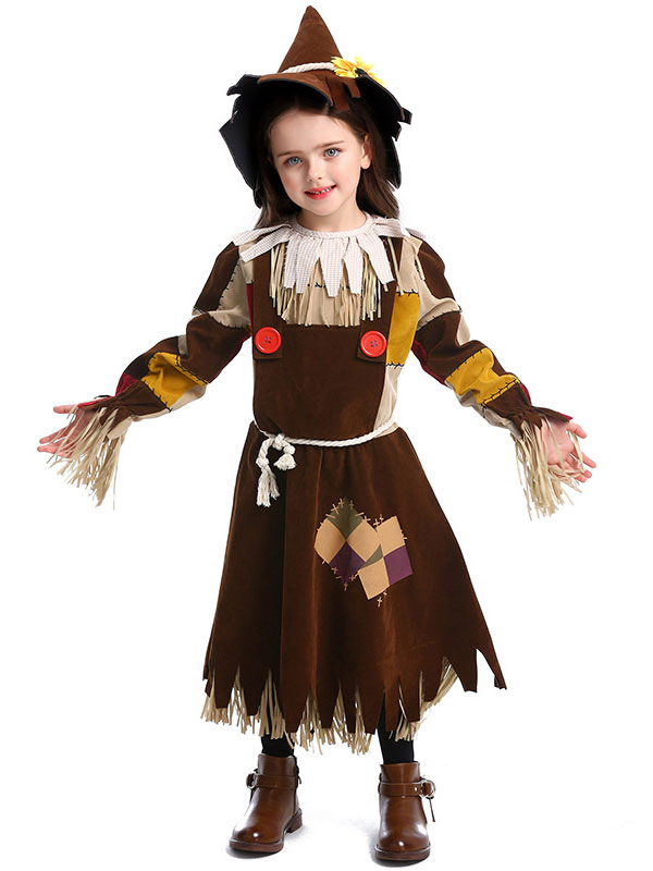 Halloween Costumes Child Witch Cosplay Tan Choker Dress Polyester Kids Holiday Wears Outfit Costumeslive Com