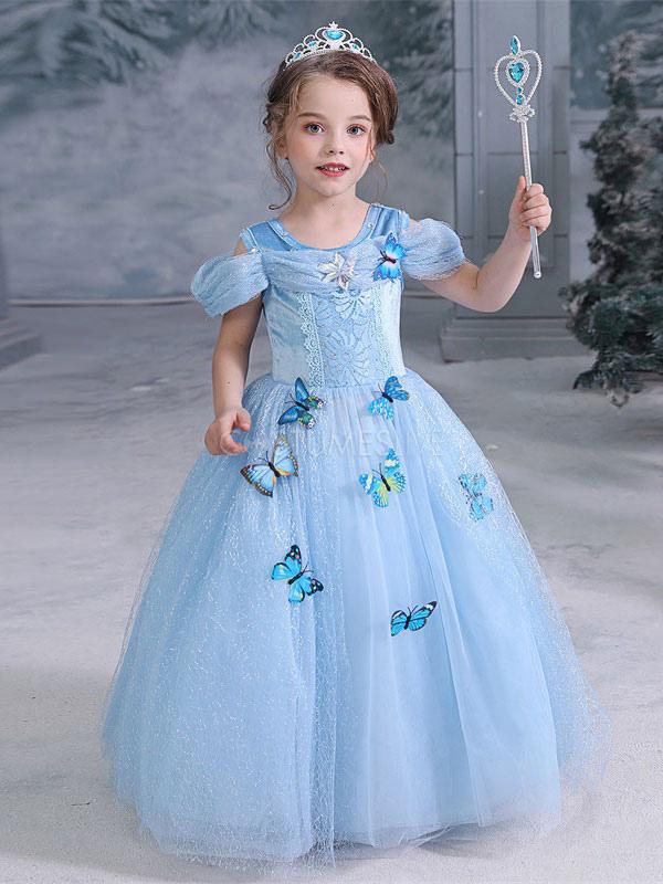 Children Elsa Cosplay Frozen Butterfly Blue Dress Kids ...