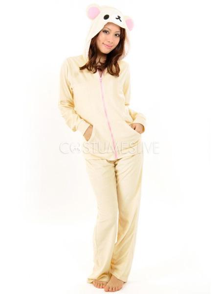 e3d11353591c Kigurumi Pajamas Bear Onesie For Adult Cute White Cotton Animal Costume -  Costumeslive.com by Milanoo