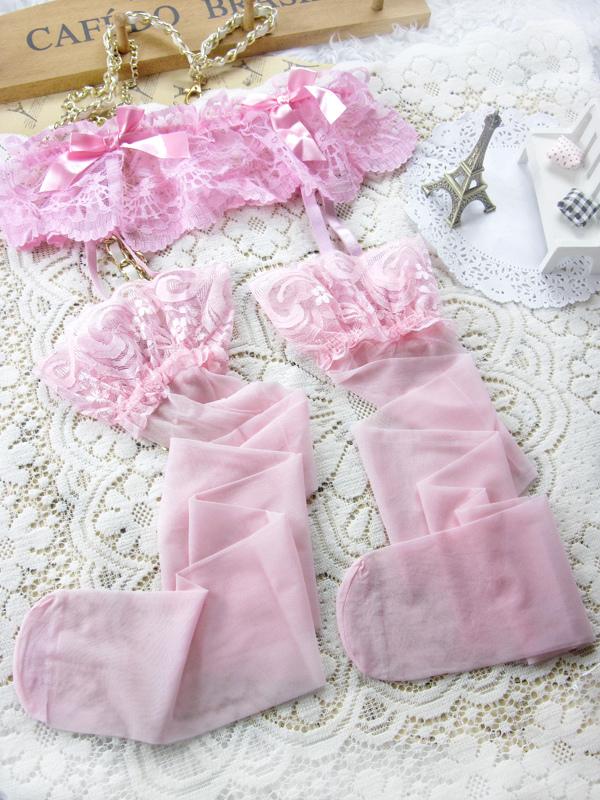 657f028e5 Arco de tecido laço rosa sexy estampados de cinta-liga das mulheres ...