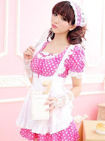 sc 1 st  CostumesLive & Charming Pink Polka Dot Cotton Fibers French Maid Costume ...