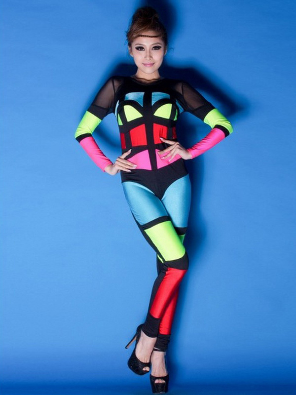 multi color lycra spandex set jazz dance costumes club wear by milanoo. Black Bedroom Furniture Sets. Home Design Ideas