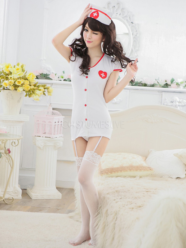 Halloween White Sexy Nurse Costume - Costumeslivecom-5252