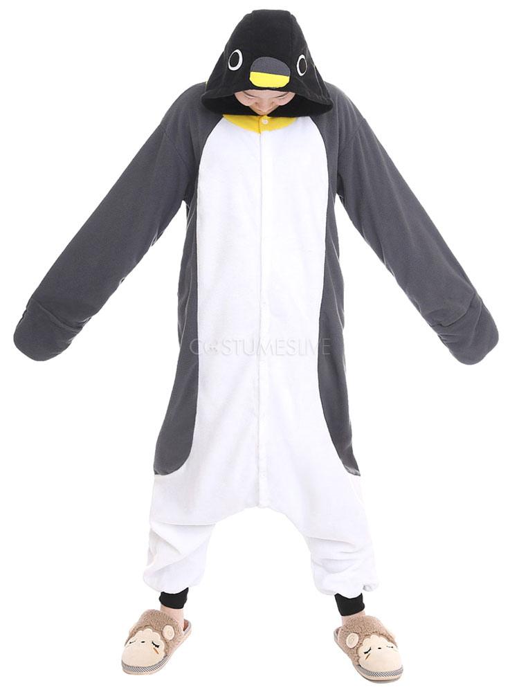 6c27690afd36 Kigurumi Pajamas Penguin Onesie For Adult Gray Unisex Synthetic Mascot  Animal Costume - Costumeslive.com by Milanoo