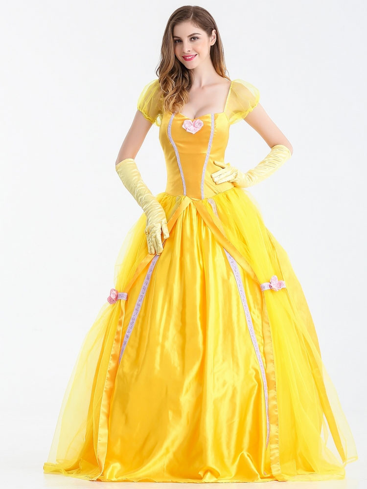 Belle Déguisement Carnaval -La Belle Et La Bête Robe Jaune Scoop UD-57