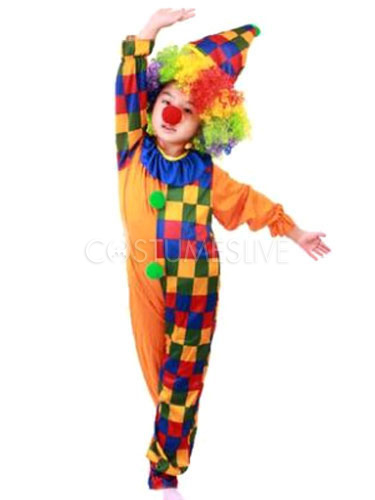 Boys Girls Clown Jumpsuit Circus Carnival Halloween Fancy Dress Costume Outfit