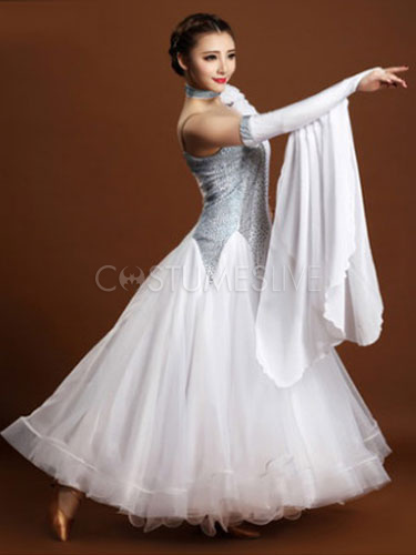 35eddf9f5f Ballroom Dance Dress Black Tulle One Sleeve Ballroom Dancing Costume ...