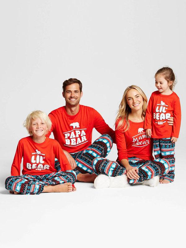 Christmas Family Pajamas Set.Christmas Family Pajamas Matching Kids Red Printed Cotton Top And Pants 2 Piece Set For Children