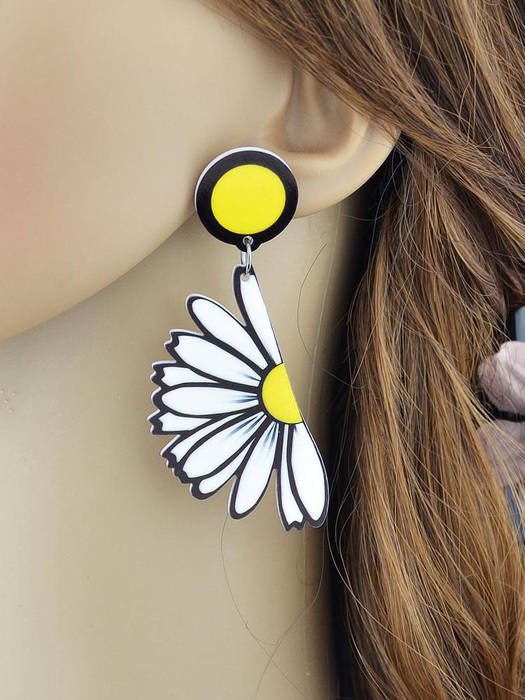 Yellow Pendant Earrings Women's Half Flowers Pendant Earrings - from $2.54